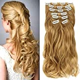"""22"""" Full Head Clip in Hair Extensions Ombre Wavy Curly Dip Dye 7 Pcs Honey Blonde"""