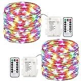 LED Lichterkette, Tomshine Lichterkette Batterie Außen 5M 50 LEDs Kupferdraht IP44 Wasserdicht Lichterkette mit Fernbedienung und Timer für Zimmer, Garten, Terrasse und Hochzeit (RGB, 2er-Pack)