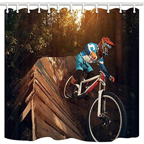 GzHQ Sport-Duschvorhang, Dschungel-Abenteuer, Fahrrad, Extremsport, Holz, schimmelresistent, Polyester, wasserdicht, Duschvorhang-Set mit Haken, 182,9 x 182,9 cm
