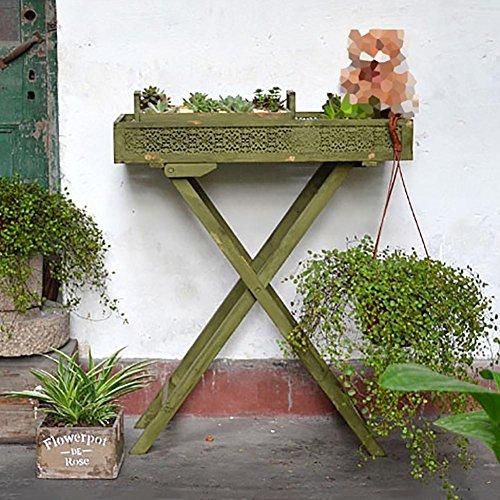 RJZHJ rural Rétro Pliant Support de fleurs personnalité Faites le vieux Pot de fleurs Bonsai cadre jardin balcon plante Présentoir , Green , 70*83cm
