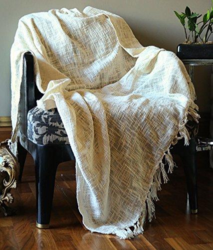 RAJRANG Kuscheldecke Couch Creme Hochwertig Orientalisch Sofa Warm Throw Blanket Tv Decke Baumwolle Weich Sofadecke 127 cm x 152 cm Orient-creme