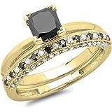 1,50Carat (quilate) 14K dorado princesa Cut negro & redondo blanco diamante Bridal Compromiso Anillo Conjunto 11/2CT