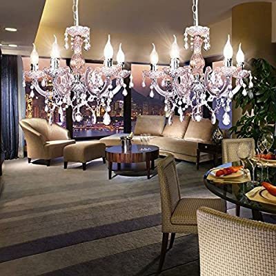 ANNT® 2Packs Modern Silver Chrome Crystal Chandelier Light Ceiling Pendant Lamp Lighting Light
