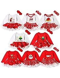 Coolbabe 0-24 Mois Bébé Fille Robe Noël Body Tutu pour Nouveau-né Barboteuse 1836a716a01