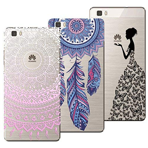 Yokata Kompatibel mit Huawei P8 Lite (2015/2016) Hülle Silikon Transparent Durchsichtig Handyhülle Schutzhülle TPU Ultra Dünn Slim Kratzfest Motiv [3 Pack] - Mandala + Feder + Mädchen Schmetterling