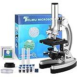 TELMU Microscopio para Niños Microscopios para Niños/Principiantes con 70 + Accesorios 3 Objetivos 300 ×, 600 × y 1200 × y Es