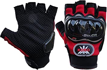 Pro-Biker Riding Half Cut Gloves - 1 Pair for Bike Motorcycle Scooter Riding - Red Color