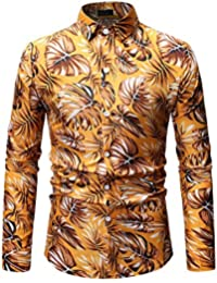 ff7e4e994f Asdflina Camisa Hawaiana Floral para Hombre Slim Fit de Manga Larga Casual  con Botones Camisas de Vestir para Hombre (Color   Oro