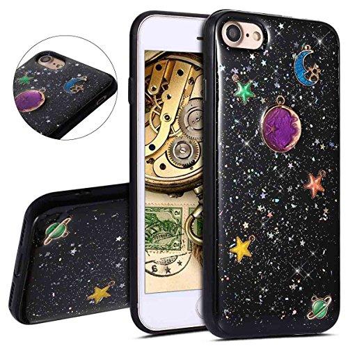 ll, iPhone 8Fall, bling glitzer Sparkle Nebel Moon Star Space Universe auf Schwarz Rückseite Luxus weichen TPU Silikon Gummi Ultra Thin Bumper Schutzhülle für iPhone 7/8 schwarz 2 ()
