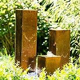 Köhko Wasserspiel aus Cortenstahl mit LED-Beleuchtung 'Brasilien' 31001 Höhe 15-30-45 cm Gartenbrunnen