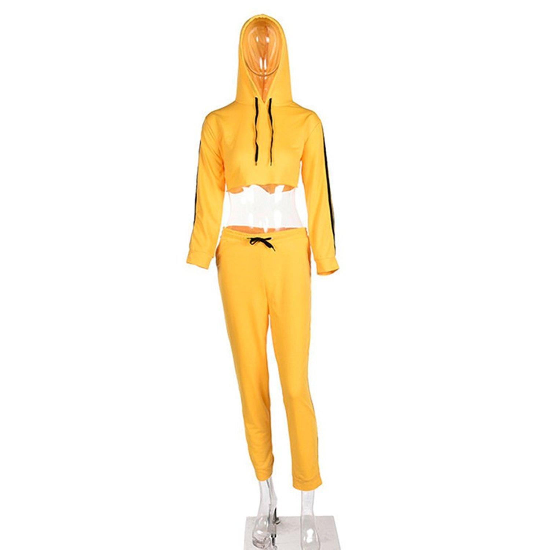 Donna Tuta da Ginnastica 2 Pezzi Moda Manica Lunga Crop Felpa con Cappuccio e Lungo Pantaloni Tuta Jogging Training Sportiva Casual Abbigliamento Sportivo Giallo S-XL