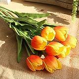huichang Unechte Blumen Tulpe, 1 Strauß Künstliche Tulpe Blumen zur Dekoration Haus Garten Party Blumenschmuck (Orange)