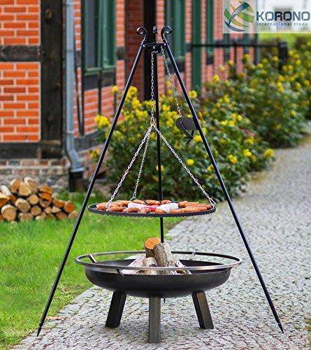 Set - Schwenkgrill 1,80m mit Kurbel incl. Ø50cm Grillrost und Ø60cm Feuerschale 340