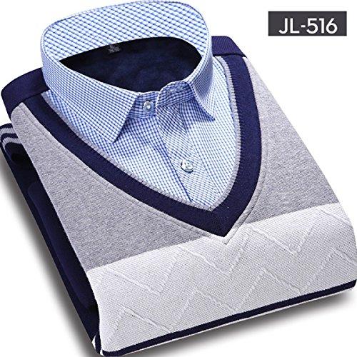 CHLXIMen's Winter Shirt Collar Due Set Di Coltelli Maglione Maglione Girocollo Più Spesso 516