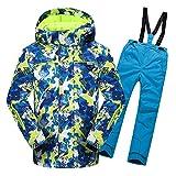 YFCH Mädchen Jungen Skianzug Skijacke Skihose Regenlatzhose Kinder Verdickung Lang Jacket Wintermantel Mantel 158/164