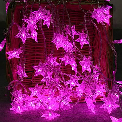 lichterkette,FeiliandaJJ 2M 10LED Kristallklarer Stern LED Licht Hochzeit Party Weihnachten Weihnachten Halloween Innen/Außen Haus Deko String Lights 3xAA Batterie (Lila)
