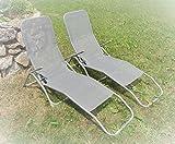 IMC 2x Relaxliege ---mit kleinen Fehlern--- mit Kippfunktion grau Saunaliege Sonnenliege Kippliege Gartenliege Gesundheitsliege klappbar wetterfest Spar-Set