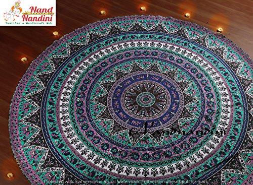 nandnandini Textile–Navidad Decorativa India Schöne Elefantes Estrella redondas roundie tapiz mandala pared...