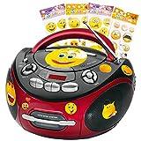 AEG Tragbarer CD-Player Stereo Anlage CD-Radio Kassetten Radio im Set Inklusive Smiley Sticker