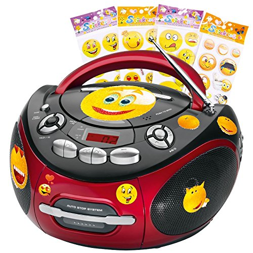 AEG Tragbarer CD-Player Stereo Anlage CD-Radio Kassetten Radio im Set inklusive Smiley Sticker