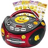 Portable CD lecteur Hi-Fi CD radio cassette radio du jeu y compris autocollants smiley