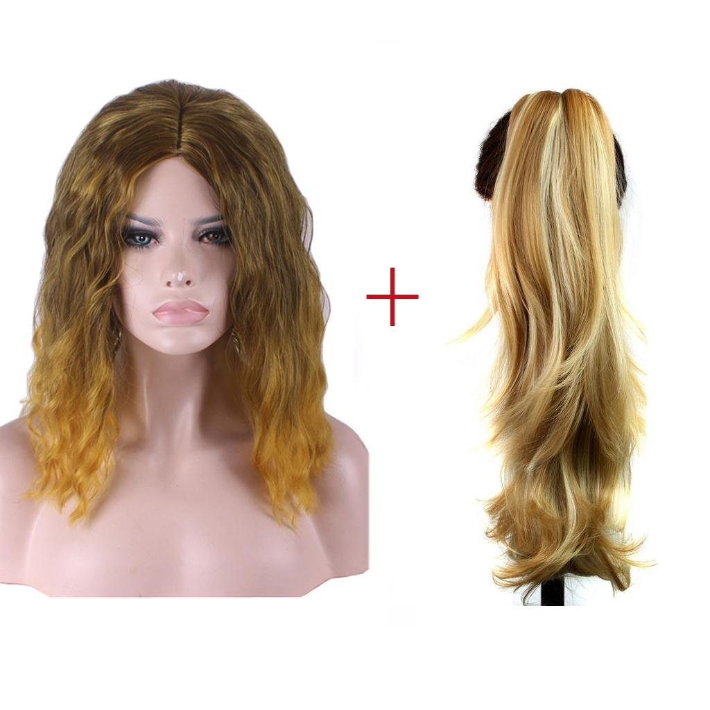 HJXJXJX Europa e Stati Uniti mais gradiente caldo alta temperatura seta Lady parrucca moda , XL