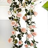 PROKTH Künstliche Rosenreben 1.8M,Hängende Künstliche Rosen und Grüne Blätter für Ihr Zuhause, Hochzeiten, Garten, Geburtstag, Feierlichkeiten, zur Dekoration