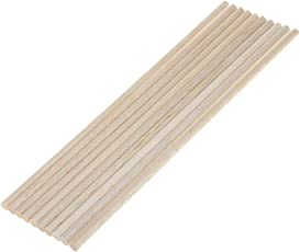 Happycraft 10 Pieces Balsa Round Unfinished Wood Stick Dowel Rod for Craft (33cm, 10 Pcs)