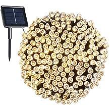 Exterior Luces de Solar decoración de Navidad, CMYK 8 modos de funciona Para Jardin, Boda, Casa ,Fiesta, Navidad, Diseño Impermeable, 200 LED 22 Metros Iluminacion de Hadas (blanco cálido)