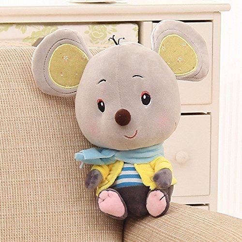 YT Mucho oído rata linda peluche muñeco muñeco durmiendo almohada para dar un regalo de cumpleaños femenino,Gris amarillo,27cm