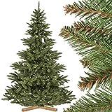 FairyTrees künstlicher Weihnachtsbaum NORDMANNTANNE, grüner Stamm, Material PVC, inkl. Holzständer, 220cm, FT14-220
