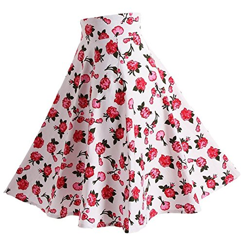 Tailloday Damen 50er Jahre Art Rock Vintage Floral Rockabilly Swing Tellerrock L -