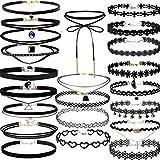 Clearance/Bluester 22pcs Gothic Necklace Set, Retro Velvet Classic Tattoo Lace Choker Chain B (Black)
