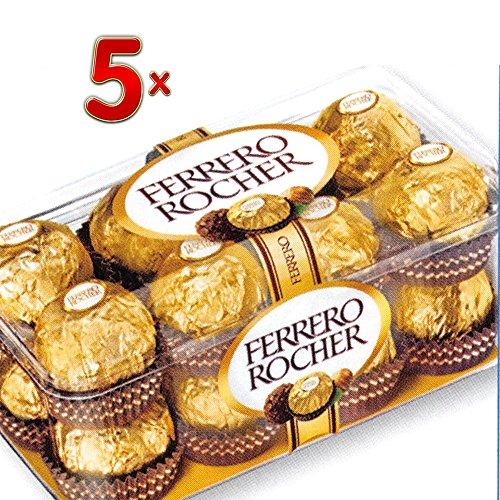 Ferrero Rocher 5 x 16 Stück pro Packung (Rocher Schokoladen-Kugeln)