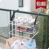 UWSZZ doppia ripiegatura piccolo stendino airer finestra interna balcone guardrail radiatore asciugamano scarpe di essiccazione