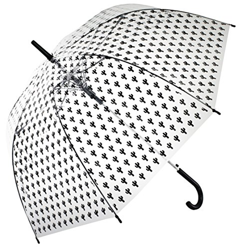 Bloom of London Parapluie Long - Design Anglais Ouverture automatique Cactus Bisetti Paraguas clásico, 75 cm, 100 Liters, Negro (Noir)