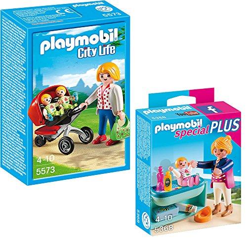 Preisvergleich Produktbild PLAYMOBIL® City Life Kindergarten 2-teiliges Set 5573 Mama mit Zwillingskinderwagen + 5368 Mutter mit Baby-Wickeltisch
