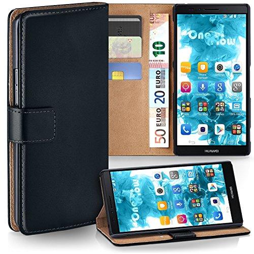 moex Huawei Mate 7 | Hülle Schwarz mit Karten-Fach 360° Book Klapp-Hülle Handytasche Kunst-Leder Handyhülle für Huawei Ascend Mate 7 Case Flip Cover Schutzhülle Tasche