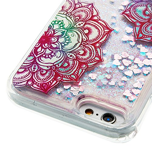 Nutbro iPhone 6S Quicksand Case,iPhone 6 Love Heart Glitter Stars Dynamic Liquid Quicksand Soft TPU Phone Case Dynamic Liquid Glitter Stars Bling Quicksand Hard Case Cover YB-iPhone-6S-299