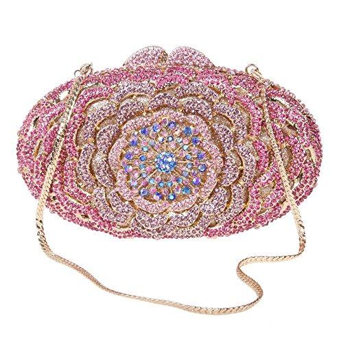 Santimon Clutch Delle Donne Fiore Borsellini Diamante Cristallo Strass Borse Da Festa di Nozze Sera Con Tracolla Amovibile 8 Colori rosa