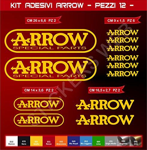 KIT ADESIVI STICKERS Arrow -12 pezzi- -SCEGLI COLORE- moto motorbike Cod.0577 (Giallo cod. 021)