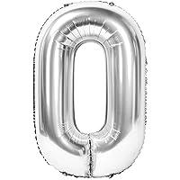 Siumir Numéro Ballon Numéro 0 Géant Argent Numéro Ballon Foil Helium Ballon Fête d'anniversaire Ans Anniversaire…