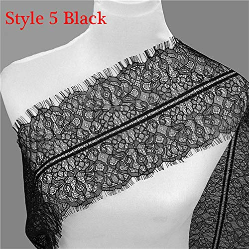 3 Yards Classic Soft Crafts Decoration Sewing Floral Eyelash Lace Trim Dress Making(Style 5 Black) -