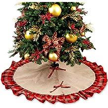 OurWarm grande falda 48 Inch base de árbol de Navidad, diseño de árbol de Navidad decoración de Navidad de arpillera rojo y negro Plaid
