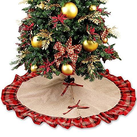 OurWarm 122cm Jute Weihnachtsbaum Rock große Weihnachtsbaum Boden Weihnachts Dekoration Rot und Schwarz Kariert