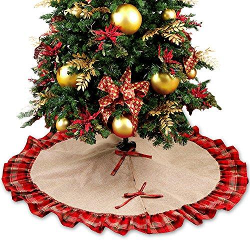 OurWarm grande falda 48 Inch base de árbol de Navidad, diseño de ...