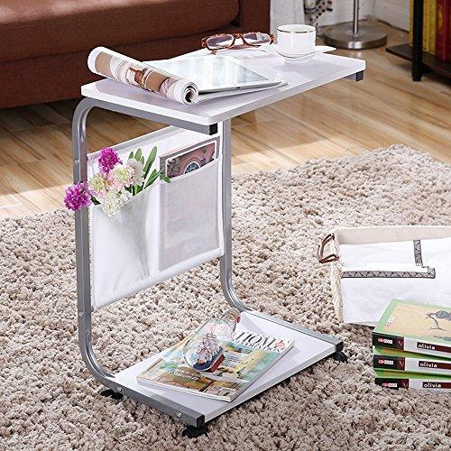Klapptisch ZHIRONG Mobile Laptop-Tabelle, Studien-Tabellen-Schreibtisch, Sofa Cabinet Dining Table, mit sperrender Flaschenzug 46 * 33 * 67CM (Farbe : Weiß)