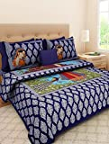 UniqChoice 100 % Cotton Blue Colour Traditional Mnicher Printed King Size Bedsheet With 2 Pillow Cover