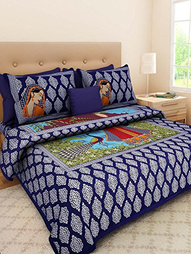 UniqChoice Jaipuri Handicraft Miniature Print 100% Cotton Rajasthani Traditional King Size Double Bedsheet With 2 Pillow Cover(MultiColor….)