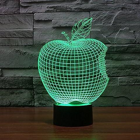 Apple bunte 3D visuelle Illusion des dreidimensionalen zurückhaltende Schalter Lampe LED Acryl Lampe (Illusion Glas Schiff)